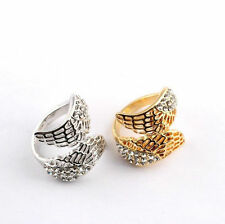 New Vintage Fashion Style Angel Wing Gold Plated Crystal Lovely Ring