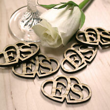 Personalised Rustic Wooden Entwined Hearts Wedding Favours Table Confetti
