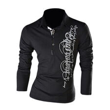 10X(S8 Graphic Printing Long Sleeve Polo Shirts Slim Fit Casual T-Shirts)