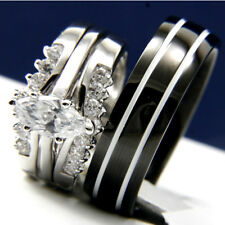 Stainless steel 0.9ct CZ engagement wedding woman's man's bridal band ring set