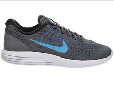 NEW MENS NIKE LUNARGLIDE 8 RUNNING SHOES TRAINERS DARK GREY / BLACK / BLUE GREY