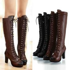 Womens High Knee Lace Up Boot Real Leather Zipper Retro Riding High Heels Oxford