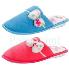 Flower Bow Fur Lined Mule Slippers  Womens Size
