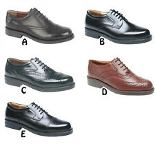 Mens New Wide Fitting Black / Brown Leather Gibson Oxford Brogues Shoes 6 - 14