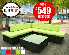 Outdoor wicker patio furniture all weather Sectional set w/cushions rattan