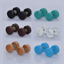 12pcs Cheater Ear Gauge-Ear Stretcher Kits-Wood Stone Fake Ear Tunnel Plugs US