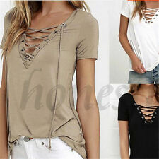 Sexy Women's V Neck Straps Neck Short Sleeve T-shirt Pure Color Shirt Tops New