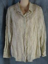 Coldwater Creek 14 Long Sleeve Lightweight Cotton Tan Snakeskin Shirt