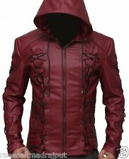 Arsenal Arrow  Hooded Real Leather Jacket