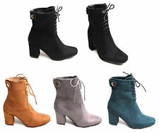 Women Ladies High Heels Biker Ankle Boots Suede Leather Lace Zip Up Shoes UK 3-8