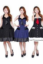 Dress Sailor Nautical Rockabilly S 50s Hell Bunny Pinup Party Swing Halter VTG 6