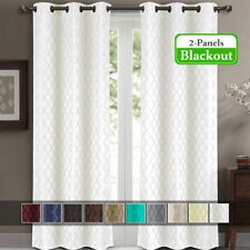 """Willow Jacquard Thermal Insulated Blackout Curtains (Set of 2) 84W x 84""""L"""