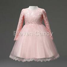 Flower Girls Lace Tulle Dress Toddler Baby Wedding Bridesmaid Formal Dresses 3-8