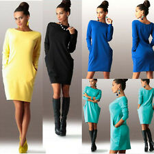 Women's Fall Casual Comfortable Loose Long Sleeved Round Neck Package Hips Dress