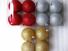Premier 12 Shatterproof 80mm Glitter Christmas Tree Decorations Baubles Red Gold