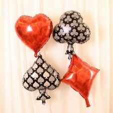 Casino Theme Card Foil Balloons Heart / Spade / Diamond / Club Party Decorations
