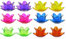 Set/2 Glass Tulip Candle Holders Tealight Purple Yellow Pink Blue Green Orange