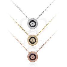 """925 Silver Evil Eye Necklace/Pendant with Adjustable 18"""" Silver Cable Chain"""