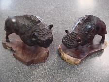 Pair of Vintage Ironwood Buffalo Bison Hand Carved