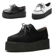 New Womes ladies Faux Suede Punk Gothic Lace Up High Platform Flat Creeper Shoes