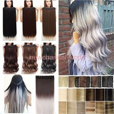100% Real Natural Hair Clip in on Hair Extensions Half Full Head Hairpieces Ncw