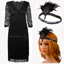 Ladies 1920s Flapper Dress Charleston Gatsby 20s Girl Sequin Fancy Costumes 8-20