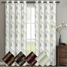"""Olivia Embroidered Lined Grommet Window Curtain (Set of 2) Panels 104W x 63""""L"""