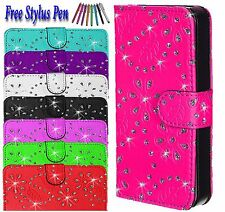 Luxury Bling Diamond Magnetic Flip Wallet PU Leather Case Cover For Apple iPhone