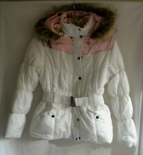 Women's Northcrest Realtree White & Pink Camo Belted Coat Jacket Fur Hood NWT
