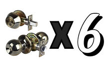 Six 6 Combo Entry Lock Set |Door Knob & Deadbolt Keyed Alike Keyways: SC1 - KW1