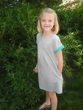 NWT 5/6 or 11/12 Gray Mini Boden Cotton Jersey Dress w/ Green Accents Sht/Sleeve