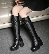 Womens Block Heel Knee High Boots Platform Punk Gothic Lace Up Roma Motor Riding
