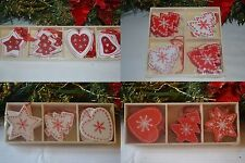 Shabby Chic Christmas Tree Decoration Gift Garland Star Heart Reindeer Angel