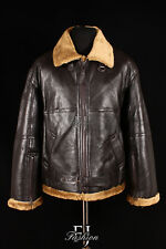 R.A.F GINGER Men's New WW2 Real Shearling Sheepskin Bomber Winter Leather Jacket