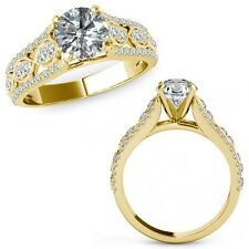 1.50 Carat Diamond Lovely Solitaire Halo Wedding Fancy Ring Band 14K Yellow Gold