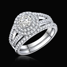 1.67 Ct Round CZ 925 Sterling Silver White Gold Plated Wedding Ring Set Sz 5-10