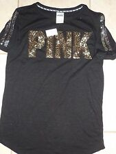 "VICTORIAS SECRET PINK BLING SEQUIN ""PINK"" POSSIBLE OVERSIZE SCOOPNECK NWT"