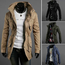 Fashion Men Zip Button Hooded Military Slim Fit Collar Jacket Long Coats Outwear