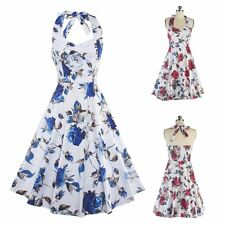 50S 60S Women Backless Vintage Floral Printed Swing Party Prom Sleeveless Dress