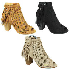 WOMENS LADIES CHUNKY BLOCK HEEL PEEP TOE TASSLE ANKLE BOOTS SHOES SIZE 3-8