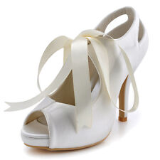 EP2061 Mary Jane Peep Toe Platform Cut Out High Heel Satin Wedding Bridal Shoes
