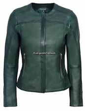 LADIES DARK Green 5328 very Stylish Design Quilted CLASSIC Real Leather Jacket