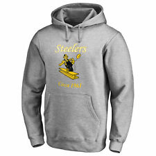 Pro Line Pittsburgh Steelers Gray Throwback Logo Pullover Hoodie