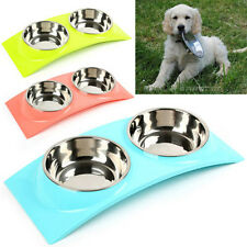 Stainless Steel Double Bowls for Pet Dog Cat Food Water Feeding Station Elevated