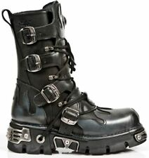 NEWROCK 591-S2 Silver FLAME METALLIC CLASSIC BLACK LEATHER BOOT BIKER GOTH BOOTS