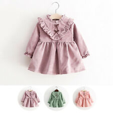 Toddlers Baby Girls Lace Princess Party Dress Kids Bowknot Warm Ruffle Clothes