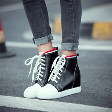 Womens Shoes Lace Up Hi Top Fashion Wedge Sneakers Trainers Sport Ankle Boots