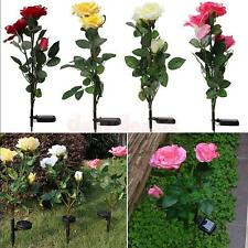 Outdoor Solar Powered Rose LED Garden Yard Stake Path Lamp Night Light 3 Colors