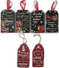 Christmas Wooden Hanging Plaques/Signs 6 to Choose From Brand New