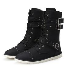 Mens Gothic Boots Buckle Strap High Booties Faux Leather Lace Up casual Shoes